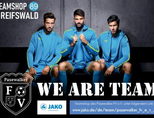 JAKO-Teamshop des Pasewalker FV jetzt online